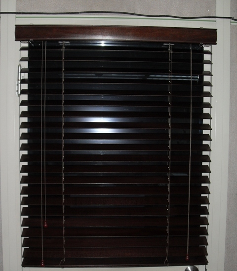 Ebony Wood Blinds (partially open)