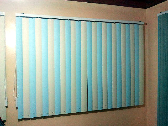 """PVC Vertical Blinds """" Cream & Blue"""" Installed at Las Piñas City, Philippines"""