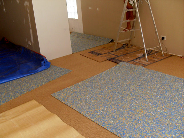 Installation of Underlay Foam for Carpet at Boracay Island, Philippines