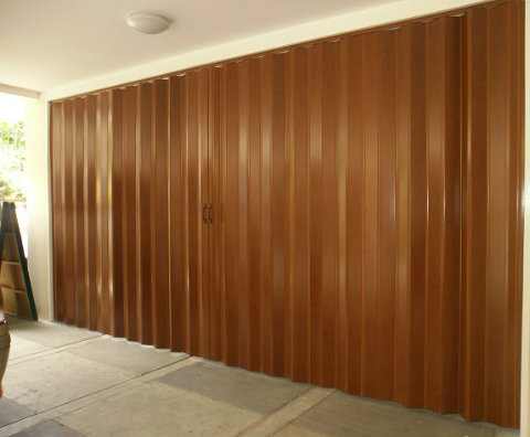 Installation of PVC Accordion Door - Deluxe Mahogany at Taguig City, Philippines