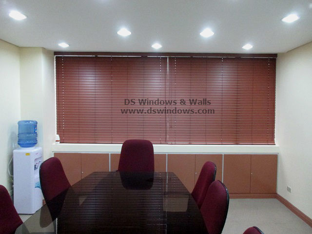Faux Wood Venetian Blinds installed in a Small Meeting Room - Ortigas Ave., Pasig City