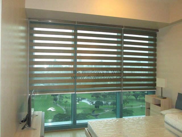 Duo Shade Blinds For Condo with Overlooking Manila Golf Course View in Forbes Town Center, Taguig Philippines