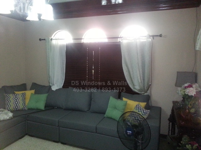 Curtains Over Mahogany Wood Blinds